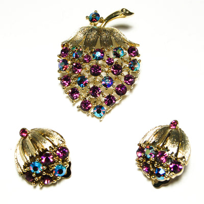 Vintage Signed Lisner Demi Parure Strawberry Brooch and Earring Set Purple and Aqua Aurora Borealis Rhinestones in Original Box by Lisner - Vintage Meet Modern Vintage Jewelry - Chicago, Illinois - #oldhollywoodglamour #vintagemeetmodern #designervintage #jewelrybox #antiquejewelry #vintagejewelry