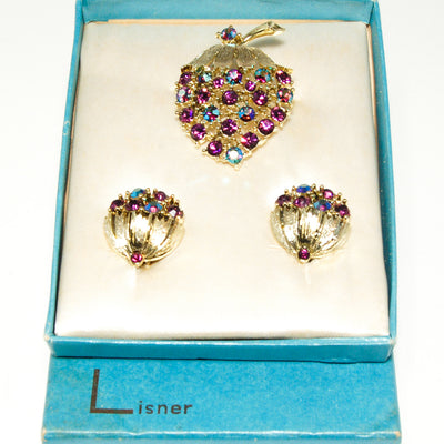 Vintage Signed Lisner Demi Parure Strawberry Brooch and Earring Set Purple and Aqua Aurora Borealis Rhinestones in Original Box by Lisner - Vintage Meet Modern - Chicago, Illinois