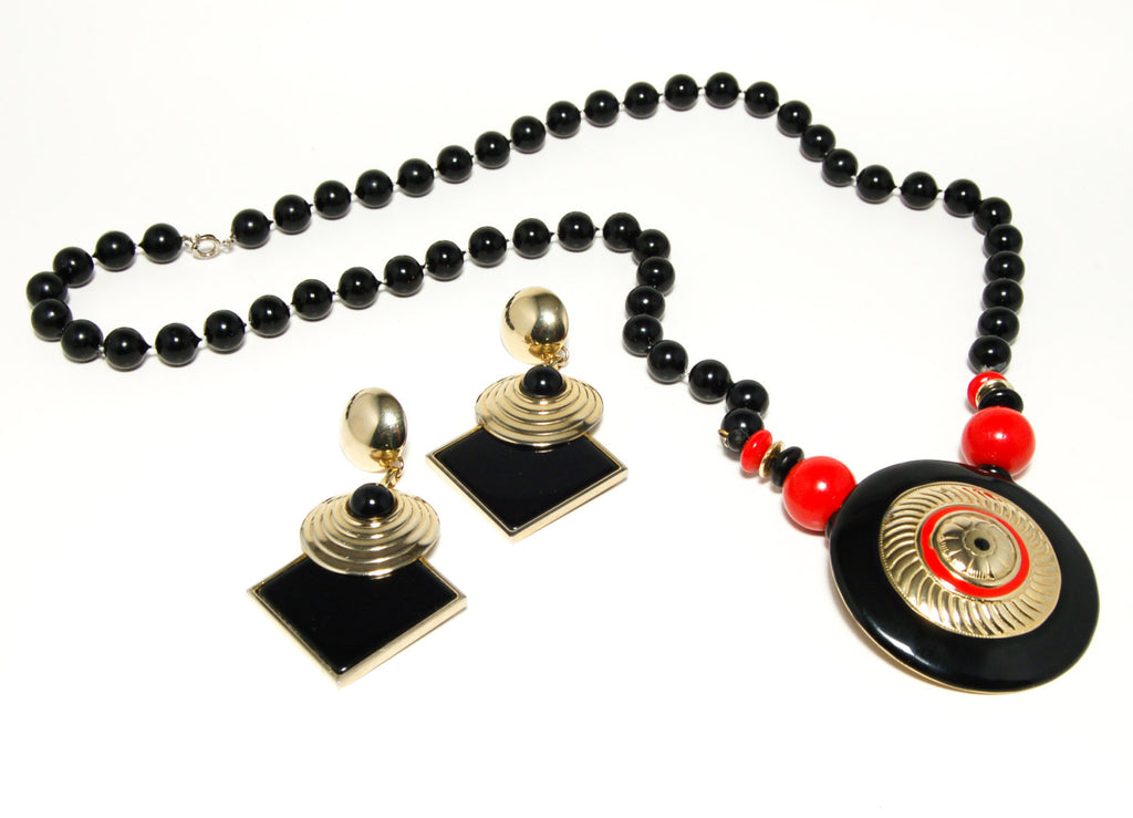 1970's Black Lucite Bead Necklace and Earrings Set, Jewelry Sets - Vintage Meet Modern
