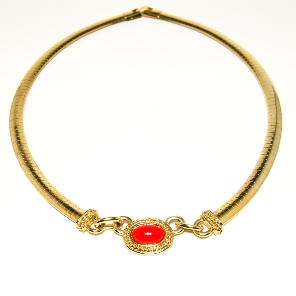 1980's Etruscan Influence Necklace with Red Cabochon, Necklaces - Vintage Meet Modern
