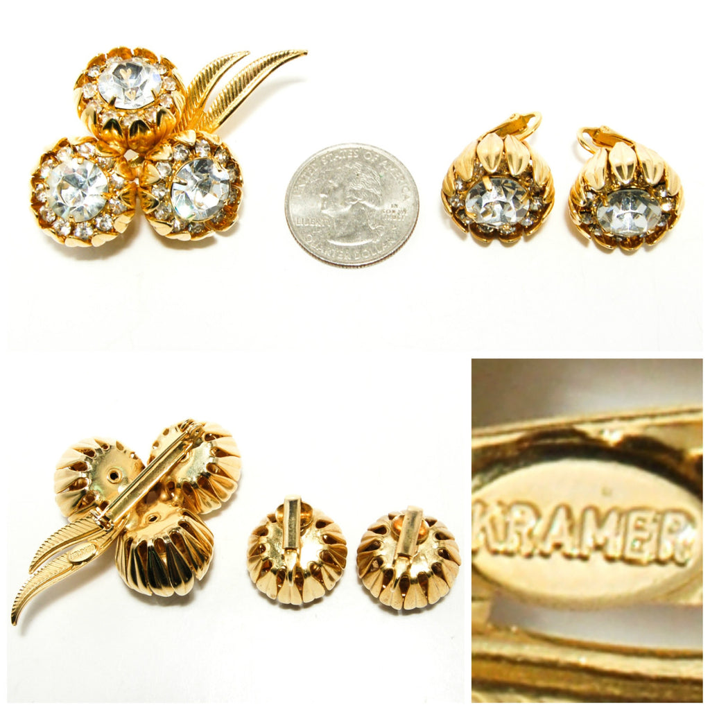 1950s Floral Rhinestone Brooch and Earrings Set by Kramer - Vintage Meet Modern  - 5