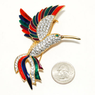 Massive  Rhinestone Colorful Enamel Figural Hummingbird Brooch Designer Couture Style by 1980s - Vintage Meet Modern - Chicago, Illinois