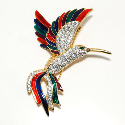 Massive  Rhinestone Colorful Enamel Figural Hummingbird Brooch Designer Couture Style by 1980s - Vintage Meet Modern Vintage Jewelry - Chicago, Illinois - #oldhollywoodglamour #vintagemeetmodern #designervintage #jewelrybox #antiquejewelry #vintagejewelry