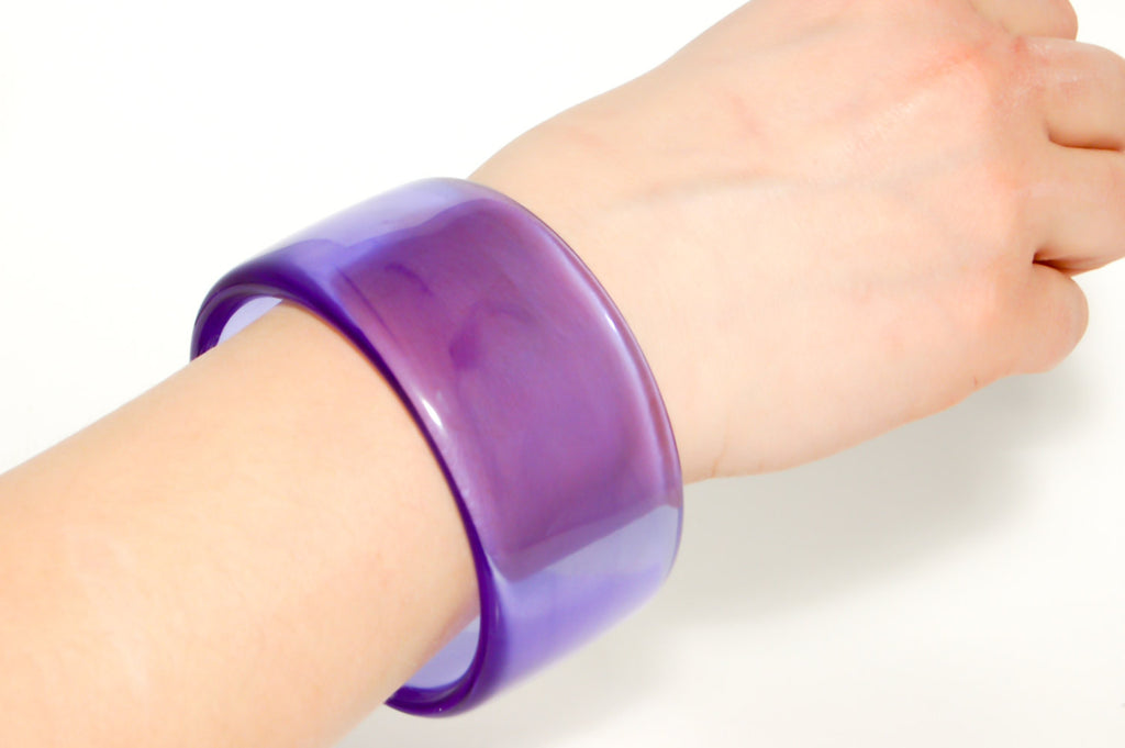 Wide Purple Lucite Bangle by Givenchy - Vintage Meet Modern  - 4