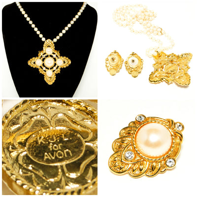 """Renaissance"" Maltese Cross Gold Tone and Pearl Pendant and Earring set by Kenneth Jay Lane for Avon by Kenneth Lane - Vintage Meet Modern - Chicago, Illinois"