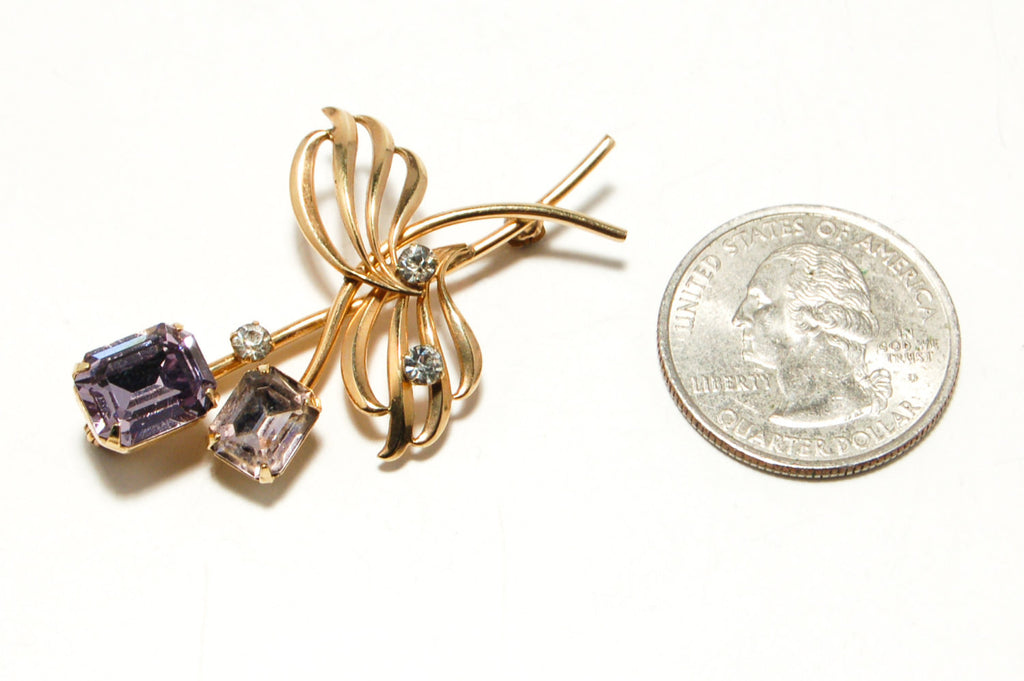 12kt Gold Filled Brooch with Purple Rhinestones by Van Dell, Brooches - Vintage Meet Modern