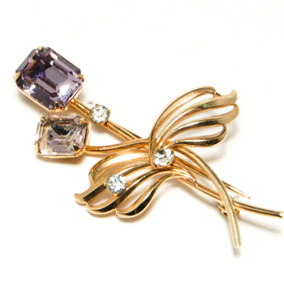 12kt Gold Filled Brooch with Purple Rhinestones by Van Dell by Van Dell - Vintage Meet Modern - Chicago, Illinois