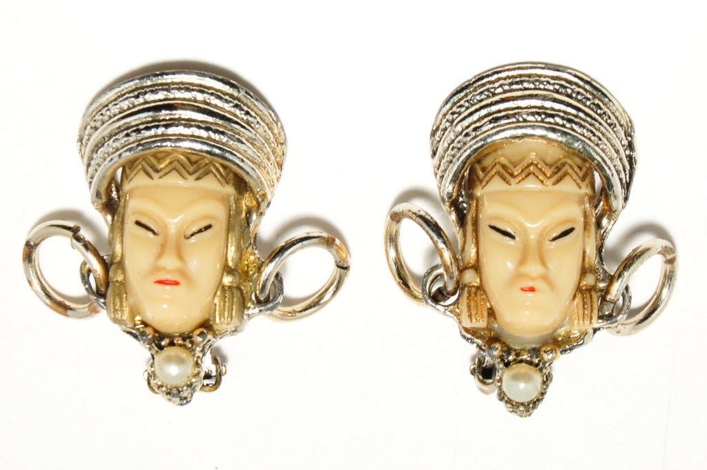1950's Asian Princess Faces Bracelet and Earrings Set, Jewelry Sets - Vintage Meet Modern