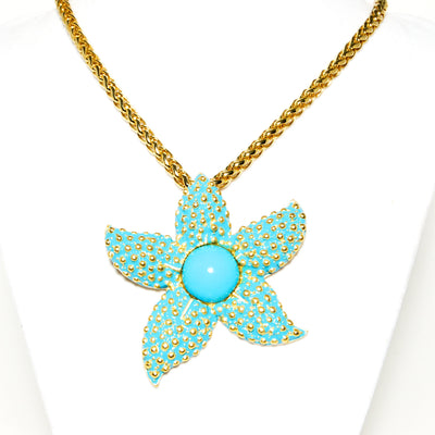Turquoise Starfish Pendant Necklace by Kenneth Lane by Kenneth Lane - Vintage Meet Modern - Chicago, Illinois