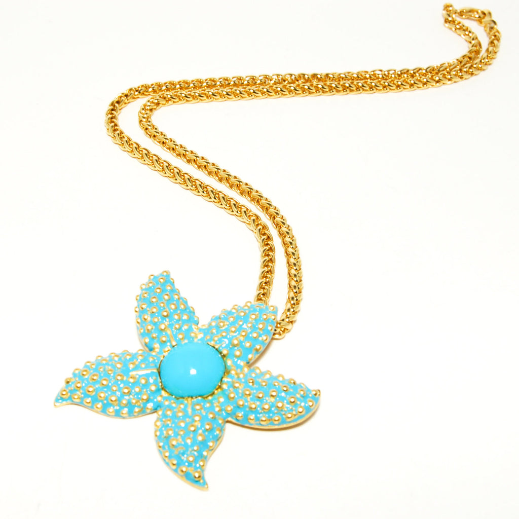 Turquoise Starfish Pendant Necklace by Kenneth Lane - Vintage Meet Modern  - 3