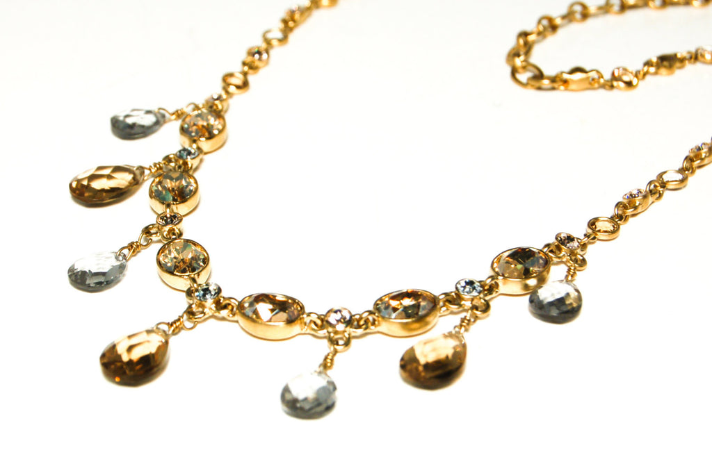 Gold Tone Necklace with Colored Briolette Rhinestones by Givenchy - Vintage Meet Modern  - 2