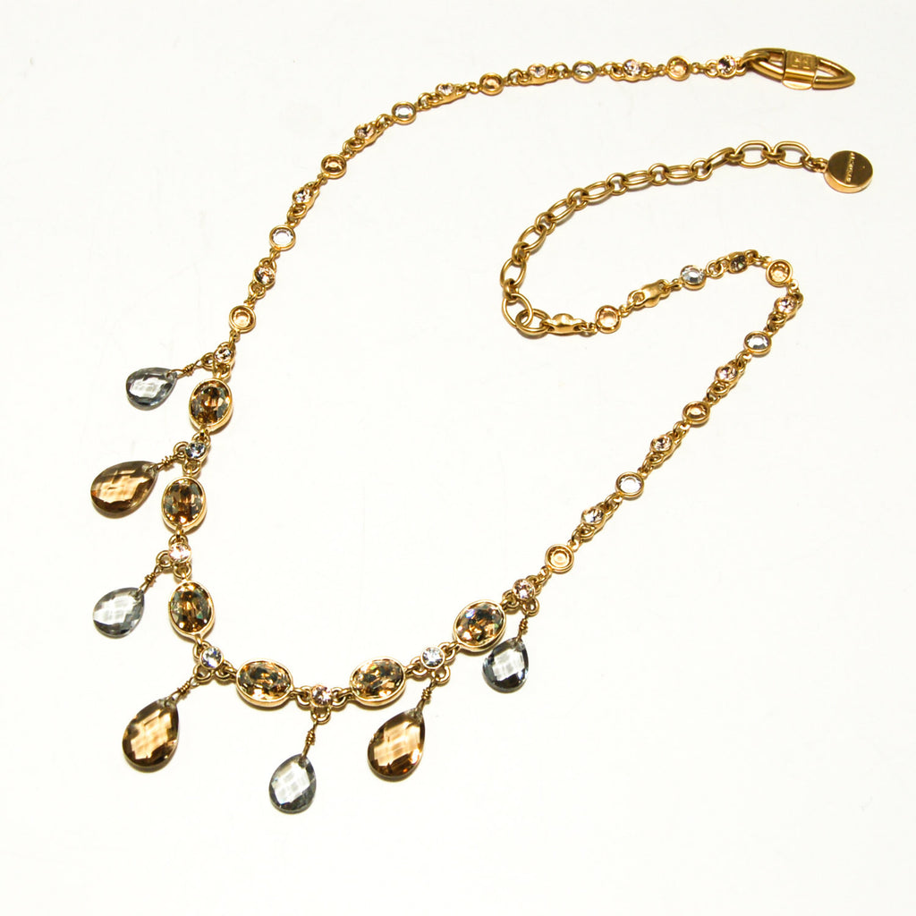 Gold Tone Necklace with Colored Briolette Rhinestones by Givenchy, Necklaces - Vintage Meet Modern