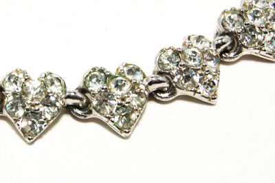 1960's Pave Rhinestone Necklace with Heart Detail by Bogoff by Bogoff - Vintage Meet Modern - Chicago, Illinois
