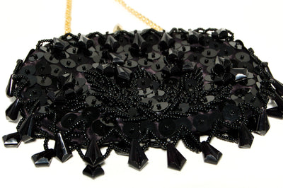 1950's Black Beaded Sequin Evening Bag by 1950's - Vintage Meet Modern Vintage Jewelry - Chicago, Illinois - #oldhollywoodglamour #vintagemeetmodern #designervintage #jewelrybox #antiquejewelry #vintagejewelry