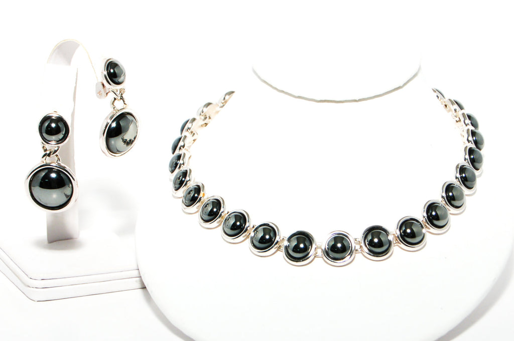 1980's Silver Hematite Earrings and Necklace Set by Monet, Jewelry Sets - Vintage Meet Modern