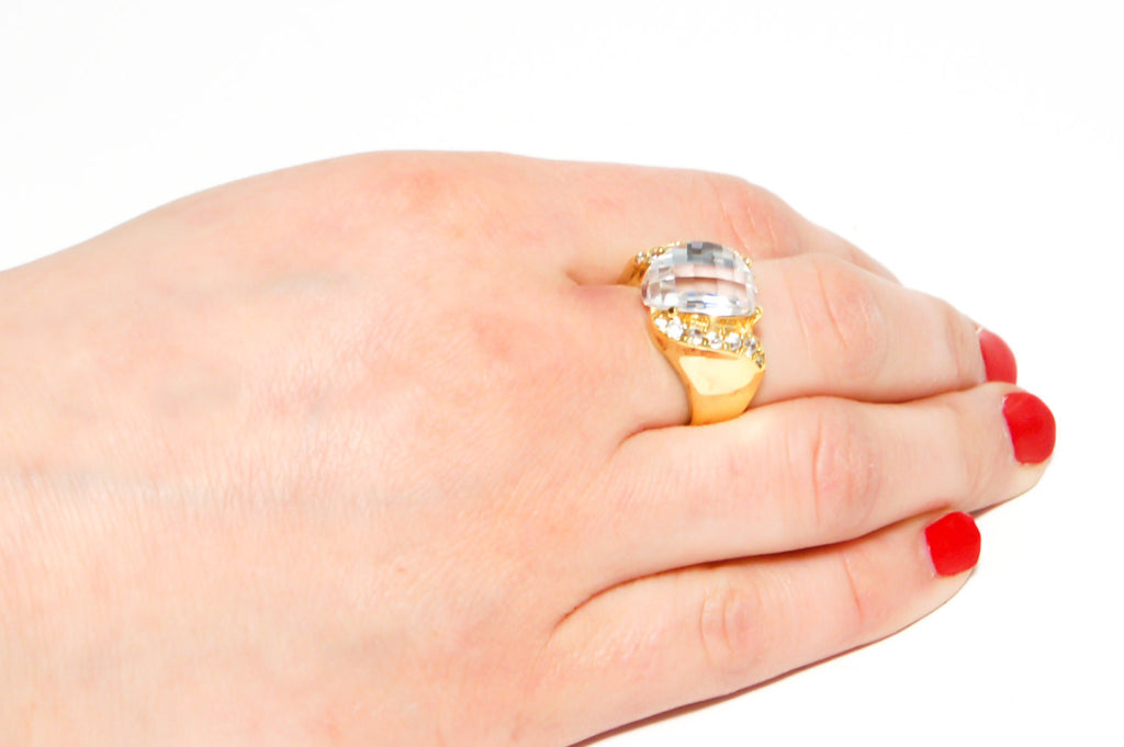 Prism Crystal Ring with Rhinestone Details by CL Designs - Vintage Meet Modern  - 4