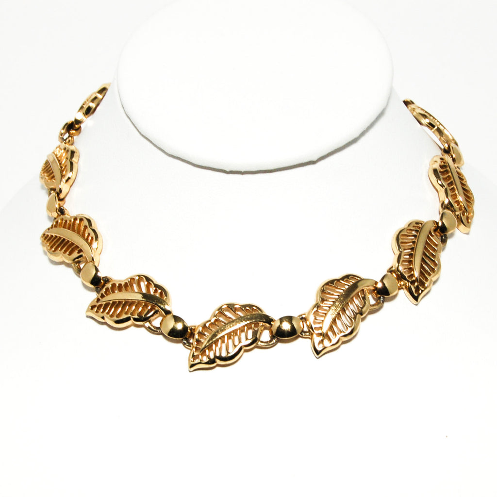Gold Tone Choker Necklace with Leaf Design by Bergere - Vintage Meet Modern  - 3
