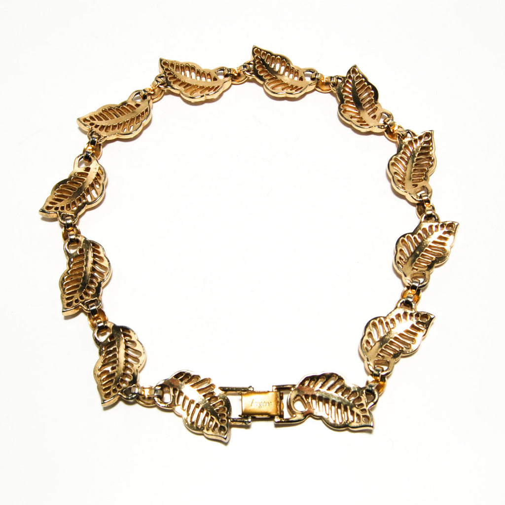 Gold Tone Choker Necklace with Leaf Design by Bergere - Vintage Meet Modern  - 5