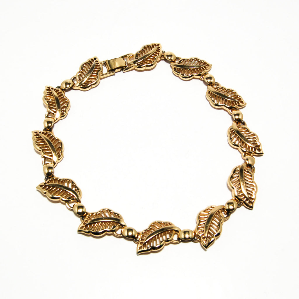 Gold Tone Choker Necklace with Leaf Design by Bergere - Vintage Meet Modern  - 1