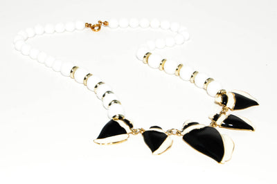 1980's Black and White Lucite Necklace by 1980s - Vintage Meet Modern - Chicago, Illinois