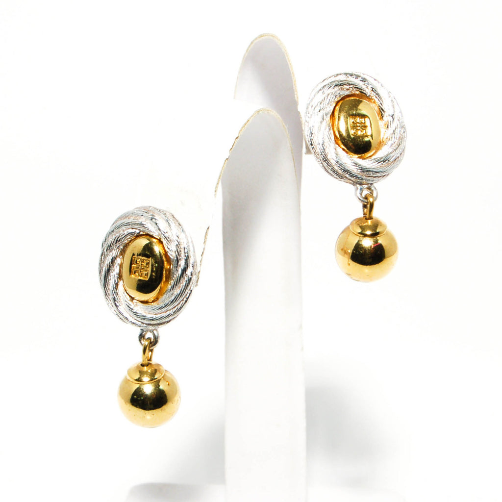 1980's Gold and Silver Hanging Earrings by Givenchy, Earrings - Vintage Meet Modern