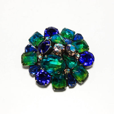 Blue and Green Ombre Dome Cluster Brooch by Kramer by Kramer - Vintage Meet Modern - Chicago, Illinois