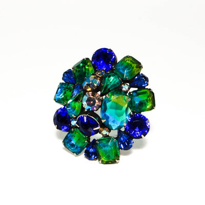 Blue and Green Ombre Dome Cluster Brooch by Kramer by Kramer - Vintage Meet Modern Vintage Jewelry - Chicago, Illinois - #oldhollywoodglamour #vintagemeetmodern #designervintage #jewelrybox #antiquejewelry #vintagejewelry