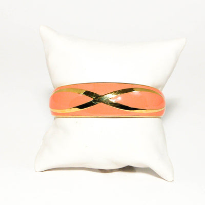 1970's Shiny Gold and Coral Open Cuff Bracelet by 1970's - Vintage Meet Modern - Chicago, Illinois