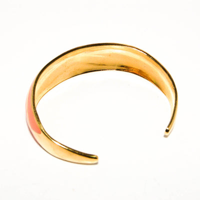 1970's Shiny Gold and Coral Open Cuff Bracelet by 1970's - Vintage Meet Modern Vintage Jewelry - Chicago, Illinois - #oldhollywoodglamour #vintagemeetmodern #designervintage #jewelrybox #antiquejewelry #vintagejewelry