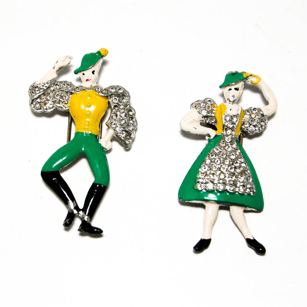 1940's Alpine Dancing Couple Fur Clips by Coro, Brooches - Vintage Meet Modern