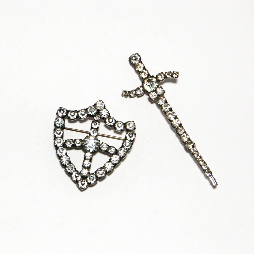 1940's Rhinestone Sword and Shield Brooch Set, Brooches - Vintage Meet Modern