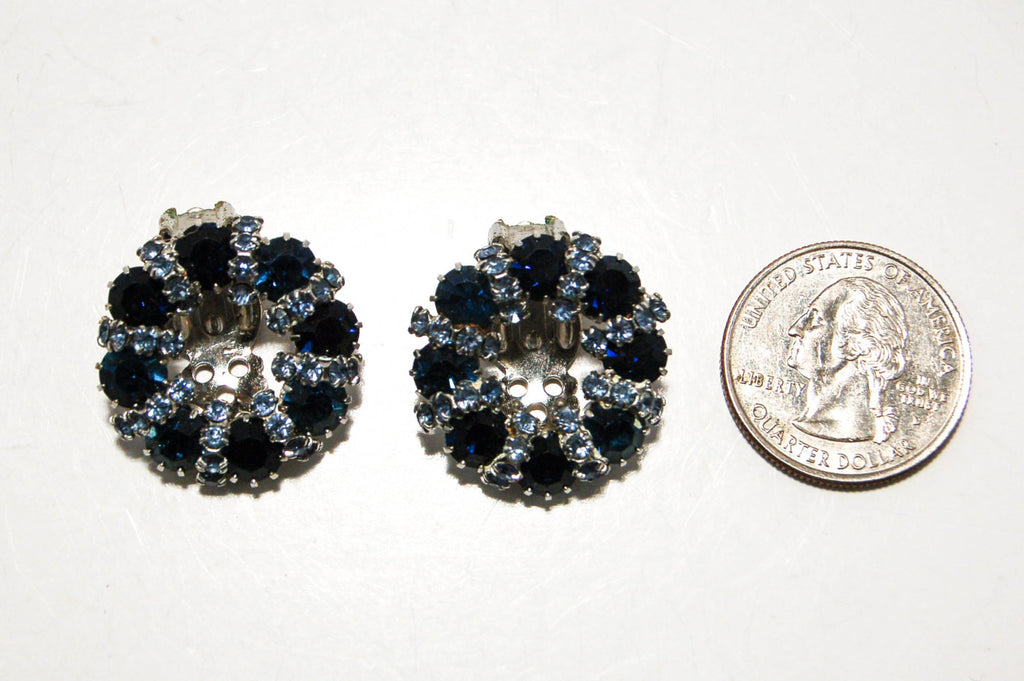 1950's Sapphire Blue Rhinestone Earrings by Weiss - Vintage Meet Modern  - 3