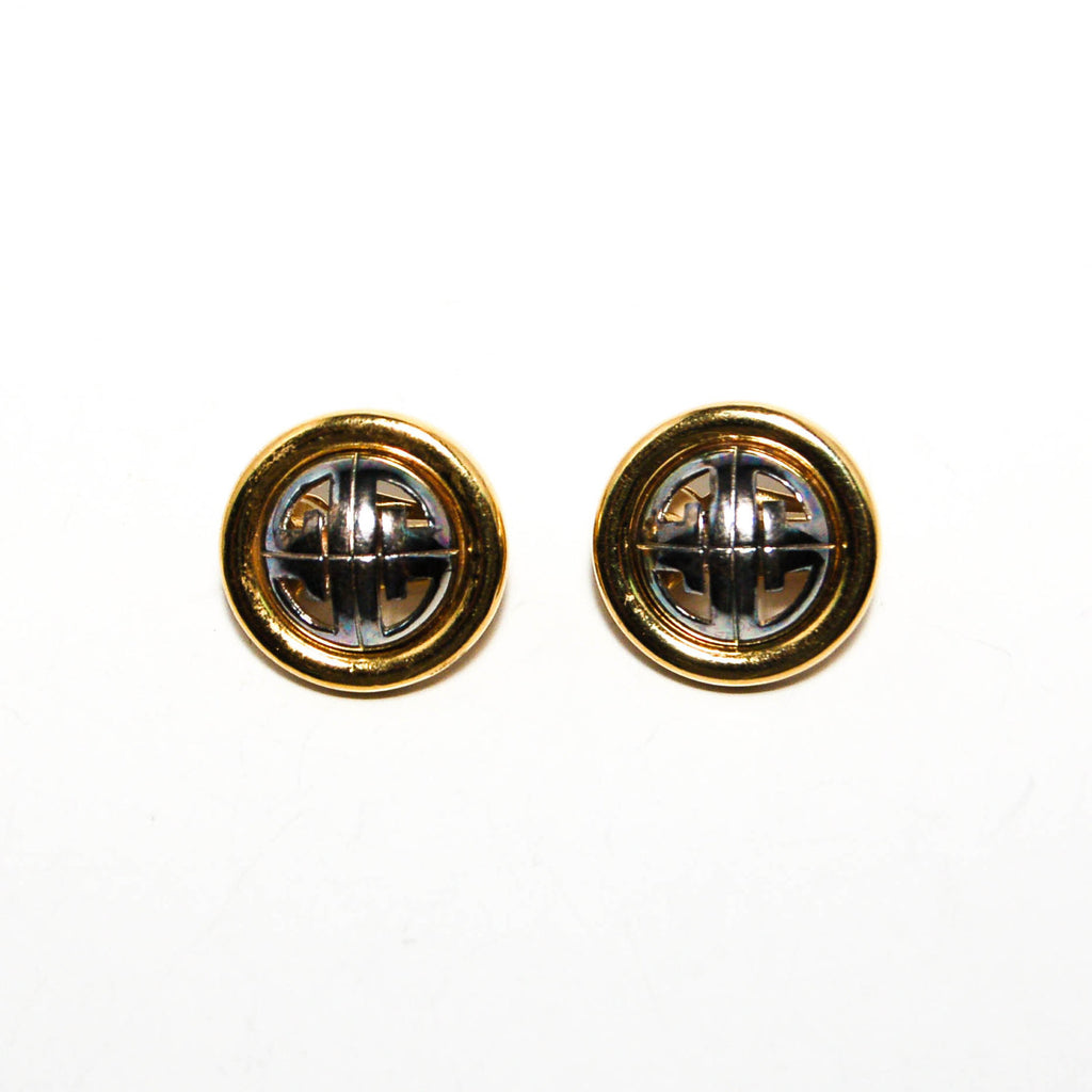 Gold and Silver Tone Logo Earrings by Givenchy - Vintage Meet Modern  - 1