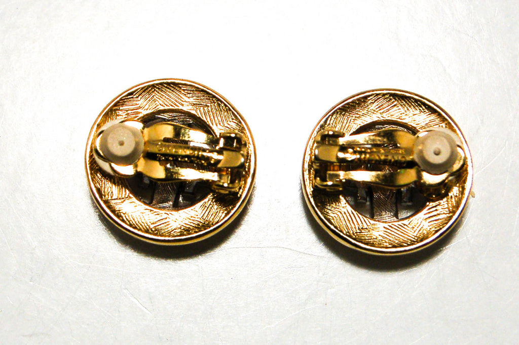 Gold and Silver Tone Logo Earrings by Givenchy - Vintage Meet Modern  - 4