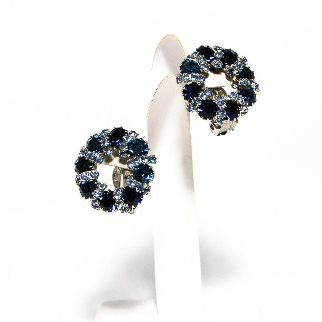 1950's Sapphire Blue Rhinestone Earrings by Weiss, Earrings - Vintage Meet Modern