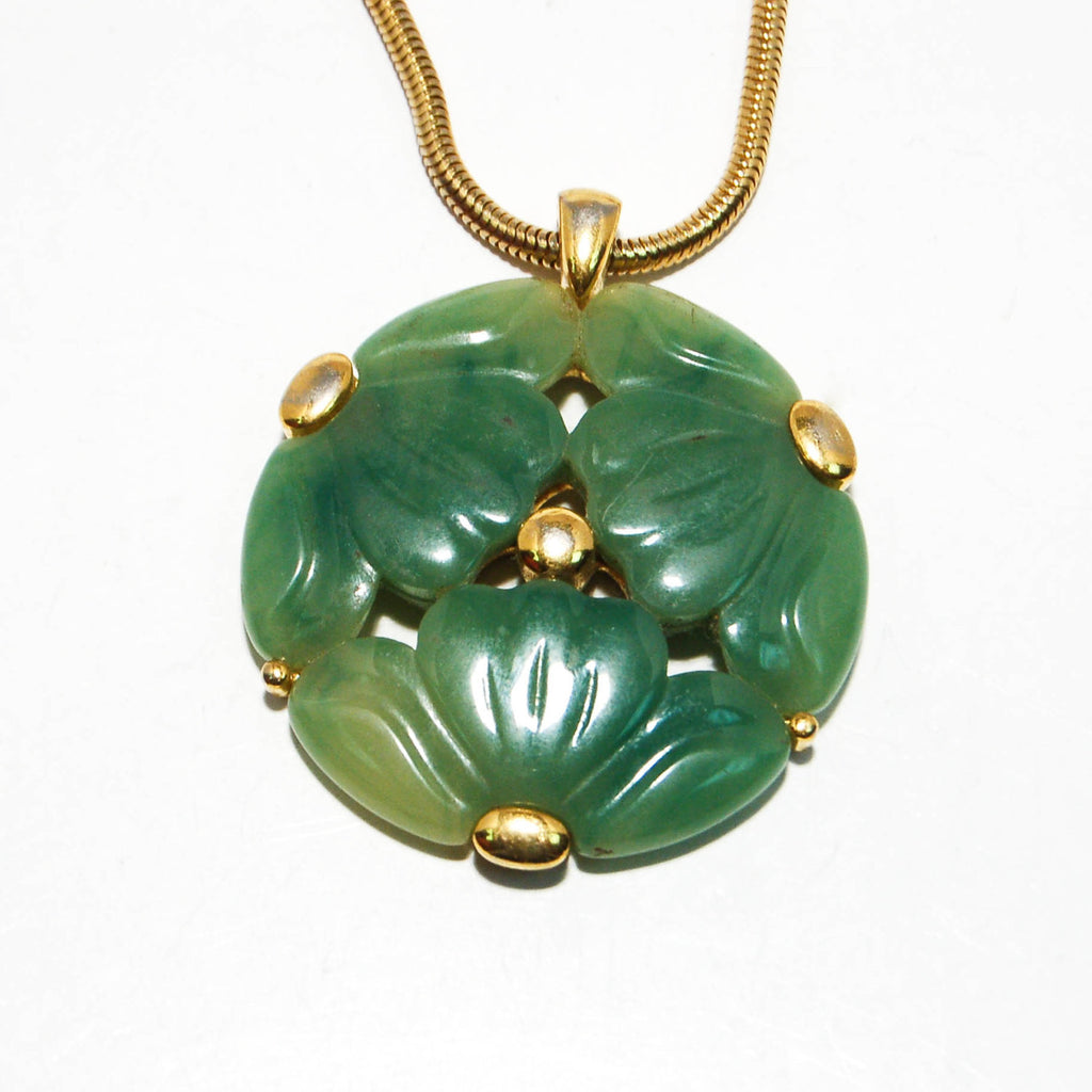 Faux Jade Carved Floral Medallion Necklace by Givenchy - Vintage Meet Modern  - 4