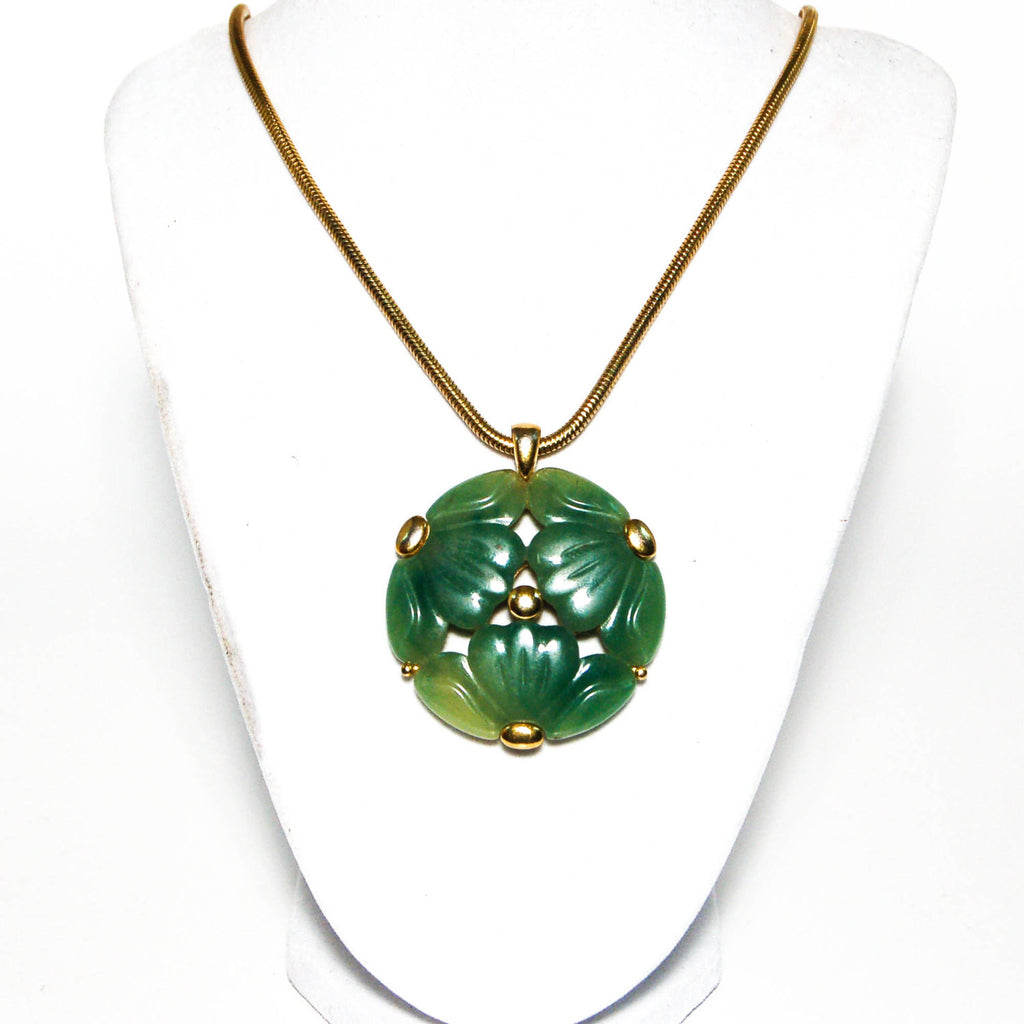 Faux Jade Carved Floral Medallion Necklace by Givenchy - Vintage Meet Modern  - 3