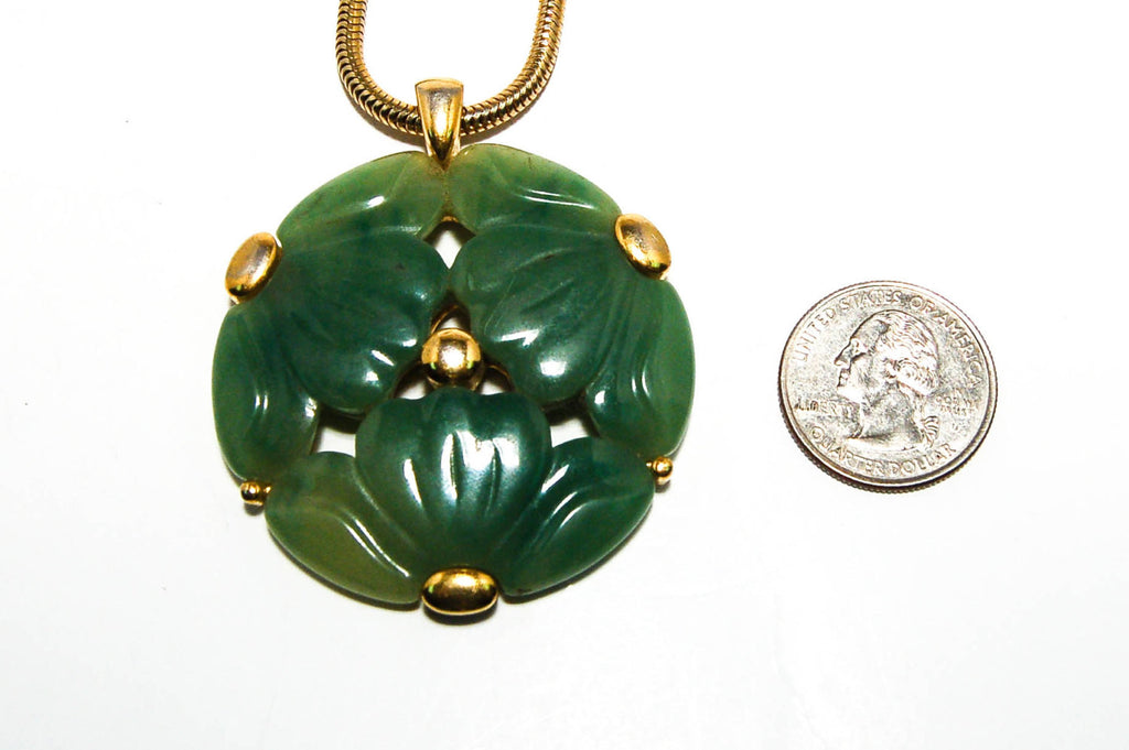 Faux Jade Carved Floral Medallion Necklace by Givenchy - Vintage Meet Modern  - 5