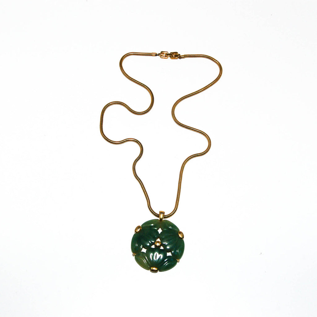 Faux Jade Carved Floral Medallion Necklace by Givenchy - Vintage Meet Modern  - 2