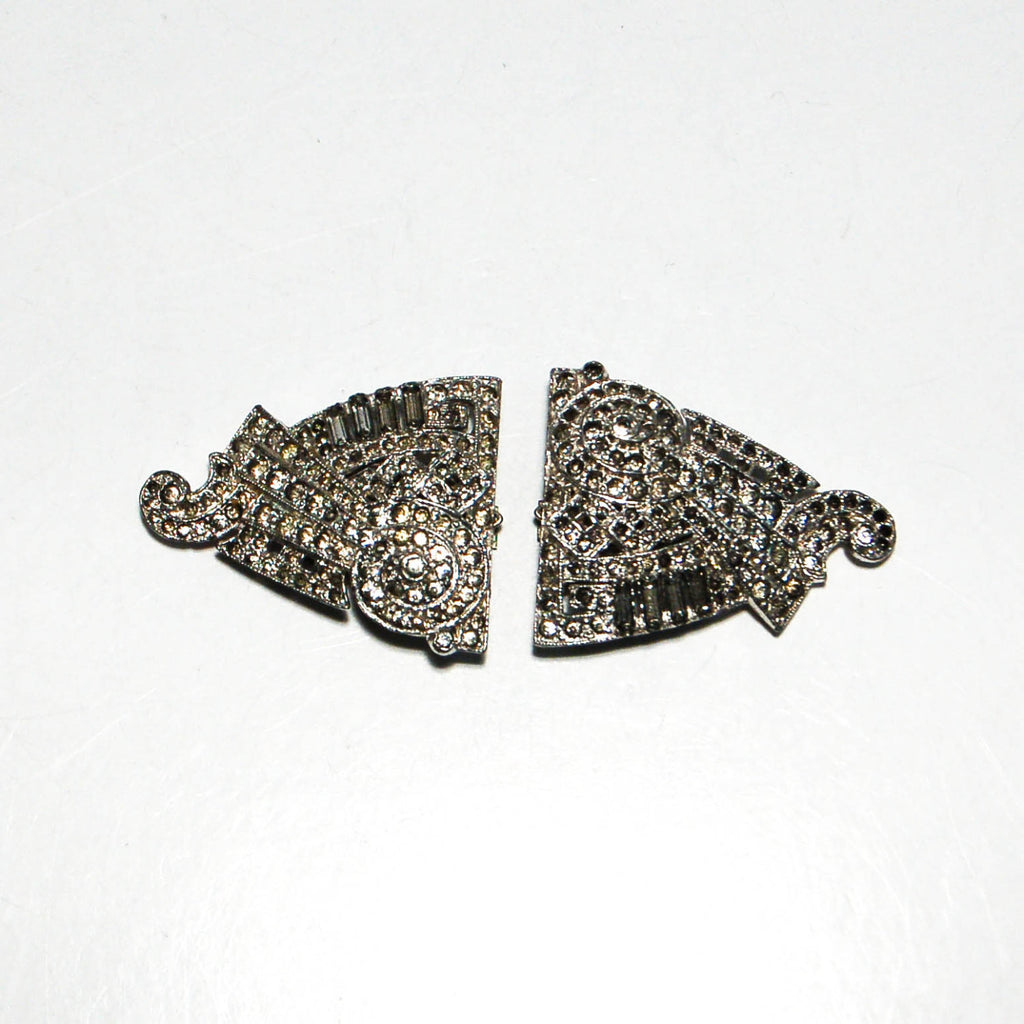 1930's Art Deco Rhinestone Fur Clips by Alfred Phillipe for Crown Trifari, Brooches - Vintage Meet Modern