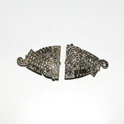 1930's Art Deco Rhinestone Fur Clips by Alfred Phillipe for Crown Trifari by Crown Trifari - Vintage Meet Modern Vintage Jewelry - Chicago, Illinois - #oldhollywoodglamour #vintagemeetmodern #designervintage #jewelrybox #antiquejewelry #vintagejewelry