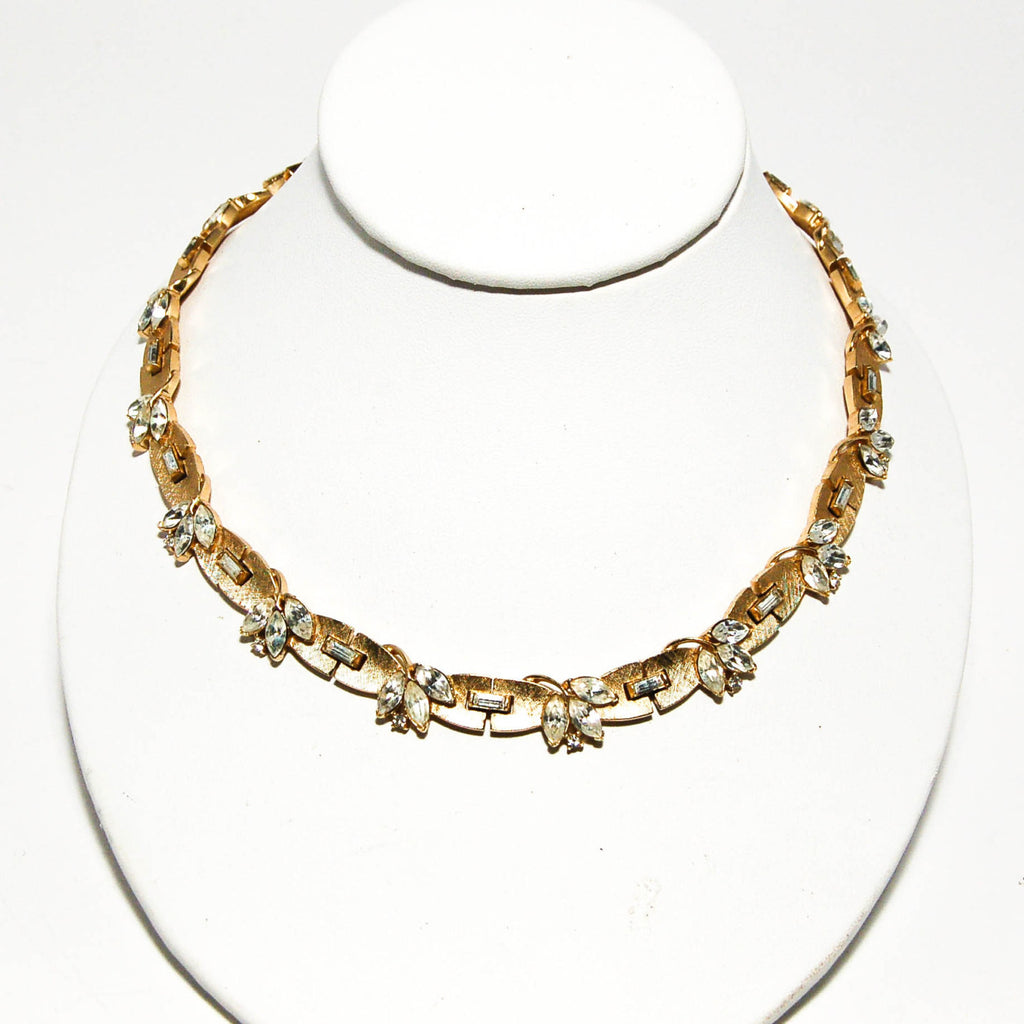Brushed Gold Tone Rhinestone Necklace by Crown Trifari - Vintage Meet Modern  - 2