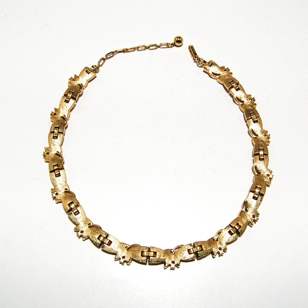 Brushed Gold Tone Rhinestone Necklace by Crown Trifari - Vintage Meet Modern  - 4