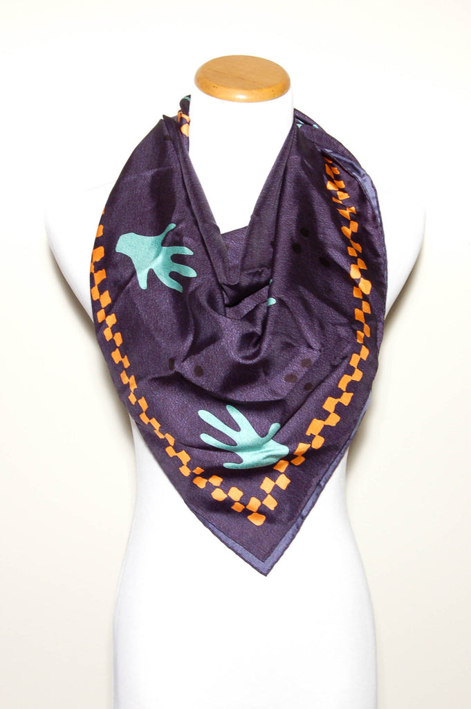 Navy Blue Silk Scarf with Orange and Turquoise Accents by Bvlgari - Vintage Meet Modern  - 1
