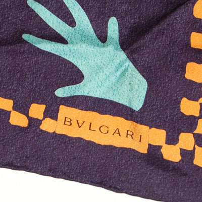 Navy Blue Silk Scarf with Orange and Turquoise Accents by Bvlgari by Bvlgari - Vintage Meet Modern - Chicago, Illinois