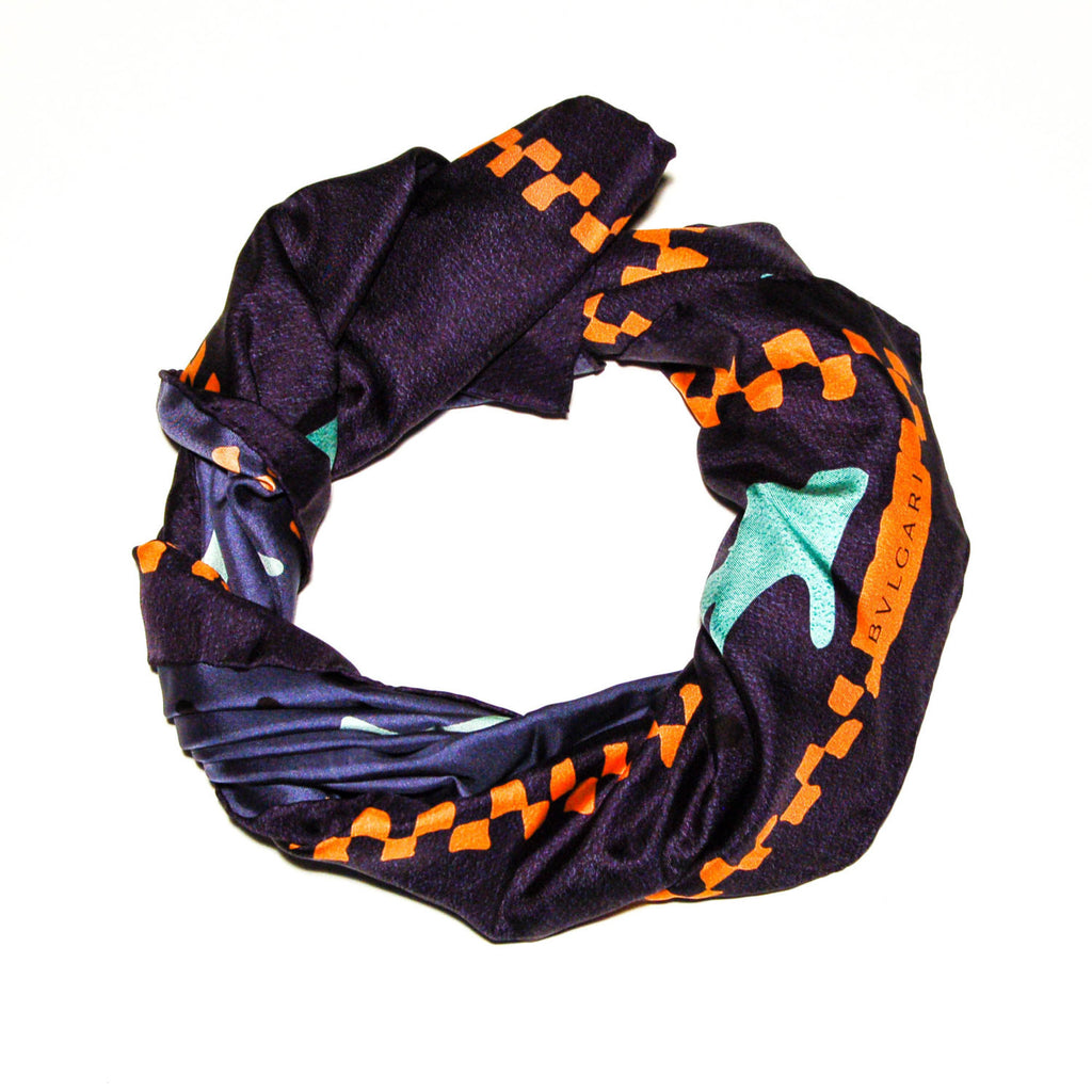 Navy Blue Silk Scarf with Orange and Turquoise Accents by Bvlgari - Vintage Meet Modern  - 5
