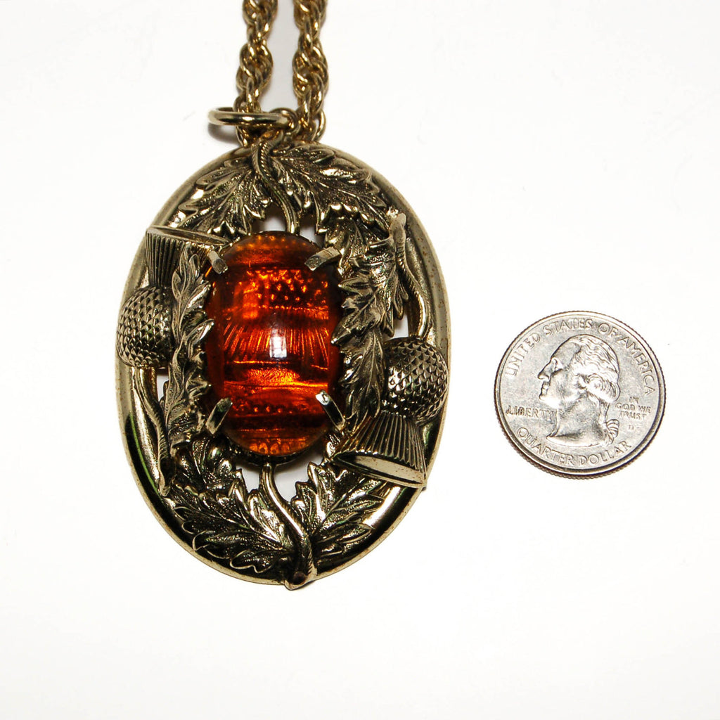 Amber and Gold Tone Glass Cabochon Necklace by Whiting and Davis, Necklaces - Vintage Meet Modern