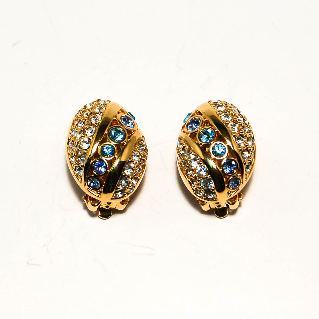 Gold Tone Oval Earrings with Rhinestones by Swarovski - Vintage Meet Modern  - 1