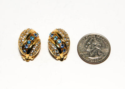 Vintage Vonelle Swarovski Swan Signed Gold Tone Baby Blue and Clear Rhinestone Clip Earrings New Old Stock Oval Shape by Swarovski - Vintage Meet Modern - Chicago, Illinois
