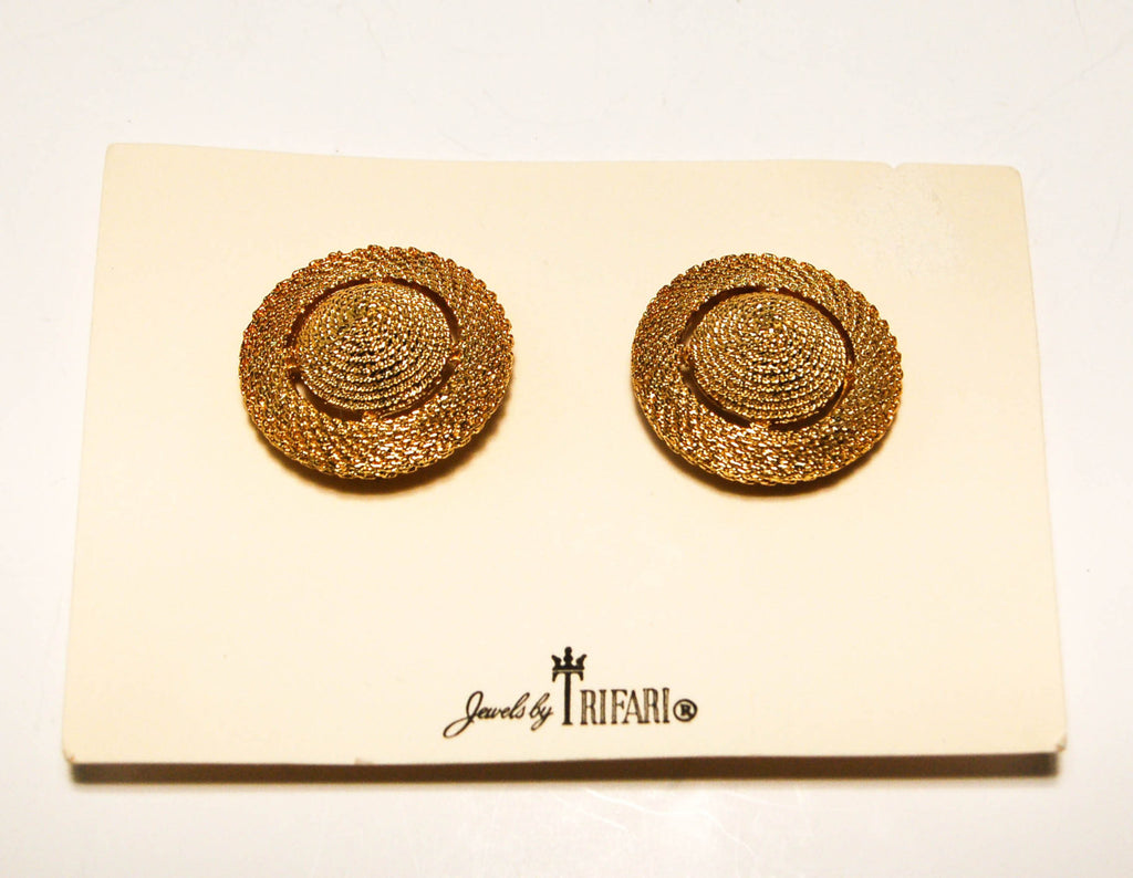 1960's Round Cone Textured Earrings by Crown Trifari, Earrings - Vintage Meet Modern